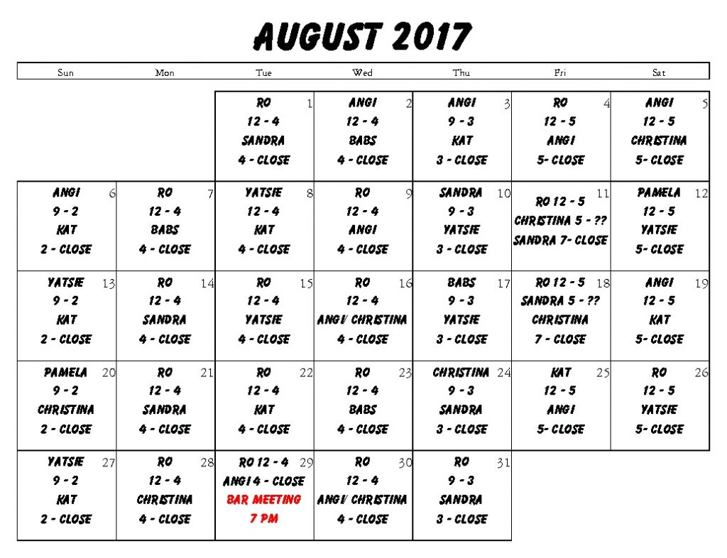 Aug bar Sched 2017